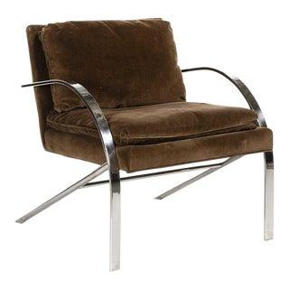 "Paul Tuttle ""Arco"" Lounge Chair in Brown Velvet & Chrome For Sale"