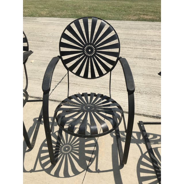 Francois Carre Francois Carre French Sunburst Garden Chairs Circa 1930 - Set of 4 For Sale - Image 4 of 11