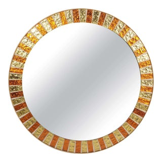 1960s Copper and Gold Mosaic Mirror For Sale