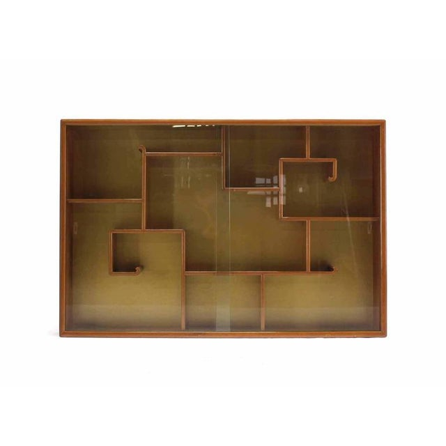 High quality designer shelf bookcase with glass doors comes with original polished l brass hardware (flat hooks) for...