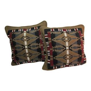 Vintage Diaspora Handmade Beaded Wool Decorative Pillows - A Pair