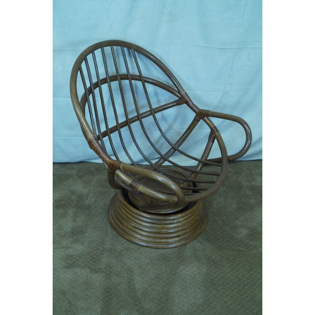 Quality Rattan Swivel Rocking Lounge Chairs - Pair - Image 9 of 10