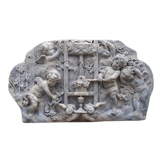 Cast Bas Relief Architectural Depicting Cherubs Making Wine, France For Sale