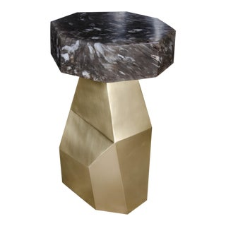 Brass Facet Table with Smoke Crystal Octagonal Top For Sale