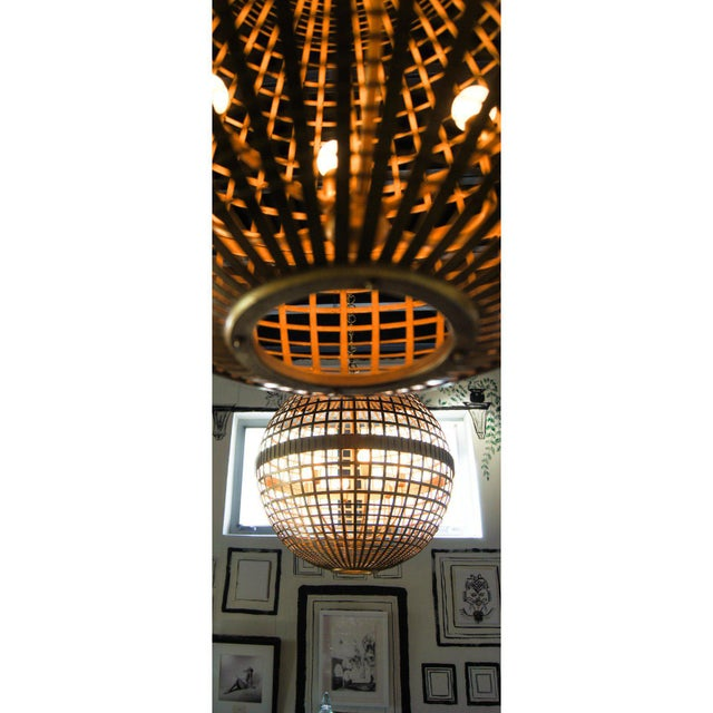 Gold Art Deco Aerin Lauder Gold Globe Circa Lighting Chandelier For Sale - Image 7 of 12
