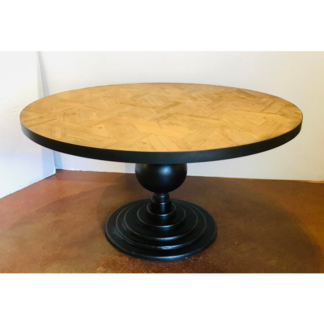 2010s Organic Modern Reclaimed Wood Round Dining Table For Sale - Image 5 of 5