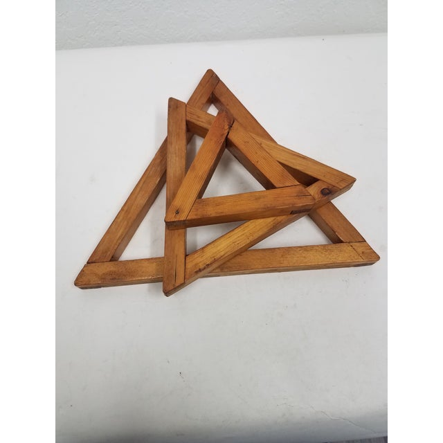 1900 - 1909 Antique English Wooden Triangular Trivets For Sale - Image 5 of 8