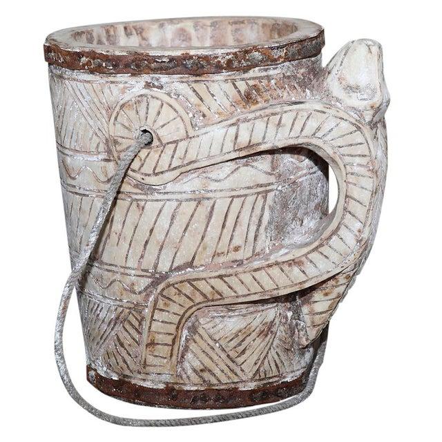 Primitive Bleached Teak Water Bucket For Sale - Image 3 of 4