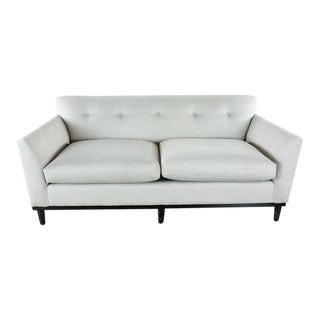 Contemporary Room & Board Gray Upholstered Two Cushion Sofa For Sale