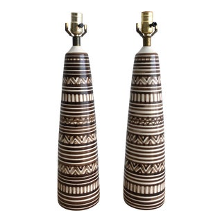 Large Pair Vintage Lotte & Gunnar Bostlund Tribal Pattern StonePottery Lamps For Sale