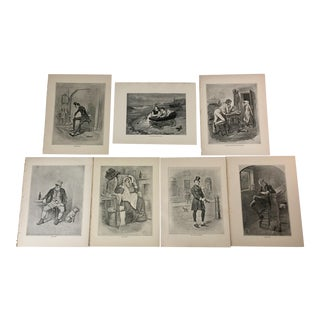 1892 Antique Characters From Dickens Novels Prints - Set of 7 For Sale
