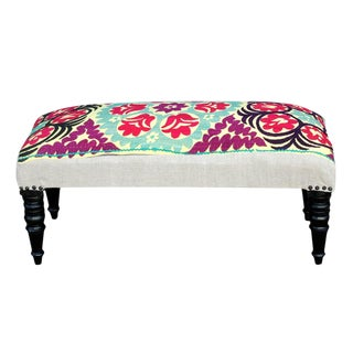 Petite Vintage Suzani Kermina Bench For Sale