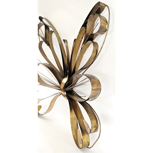 Gold Curtis Here 1974 Mid-Century Modern Brass Butterfly Wall Sculpture For Sale - Image 8 of 13