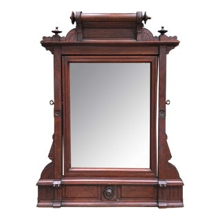 19th Century Burled Walnut Eastlake Pivoting Mirror For Sale