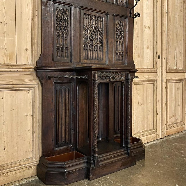 French Gothic Revival Hall Tree Dated 1829 For Sale - Image 9 of 13