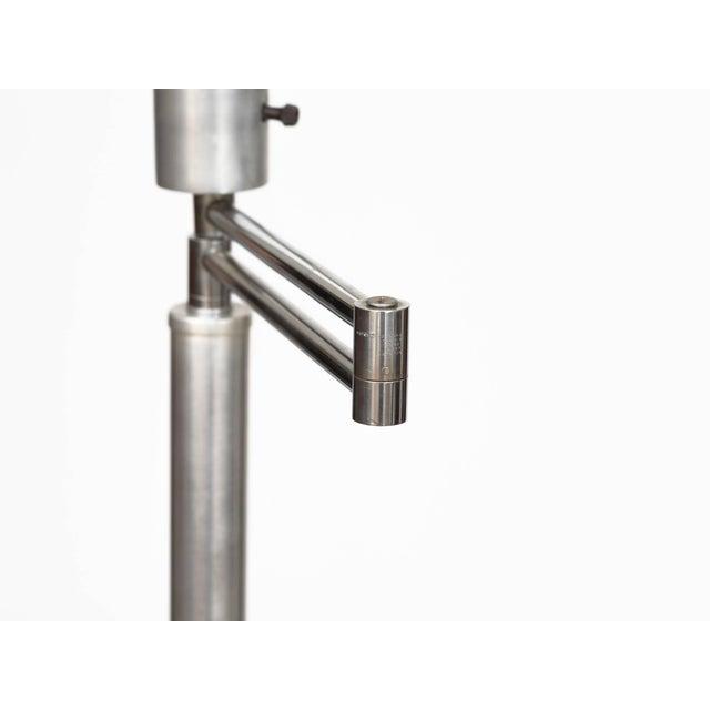 Walter Von Nessen Walter Von Nessen Style Brushed Aluminium Swing Arm Floor Lamp For Sale - Image 4 of 9
