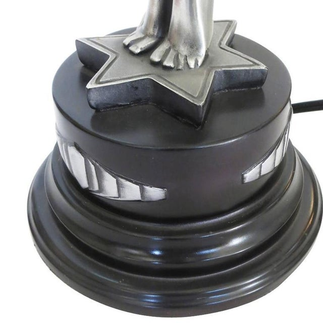 """Silver Art Deco Style Lamp Fashioned after """"Clarté"""" by Max Le Verrier - Image 9 of 10"""