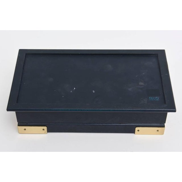 Blue Italian Vintage Gucci Blue Lacquered and Brass Hinged Box For Sale - Image 8 of 10