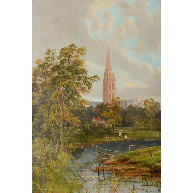 Cottage Antique German Gothic Town Oil Painting For Sale - Image 3 of 10