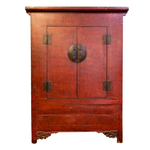 Tall Chinese Red Lacquer Two Drawer Cabinet For Sale
