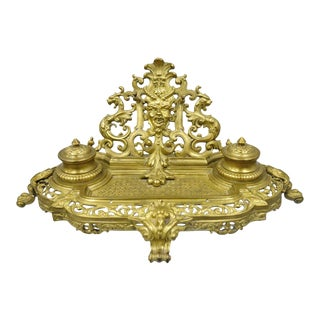 19th C. French Louis XV Style Figural Bronze Double Inkwell Inkstand Pen Holder For Sale