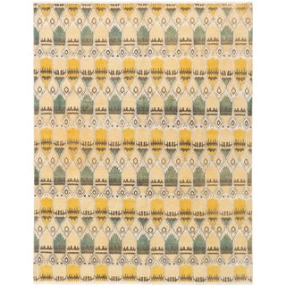 "8'0"" X 10'0"" Yellow and Green Hand-Knotted Rug For Sale"