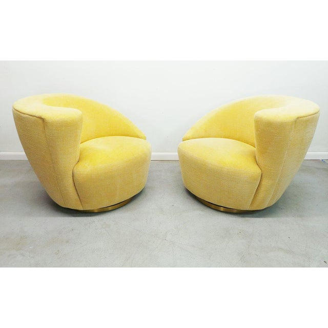 """Post Modern Vladimir Kagan for Weiman Swivel """"Nautilus"""" Corkscrew Club Chairs- A Pair For Sale - Image 11 of 13"""
