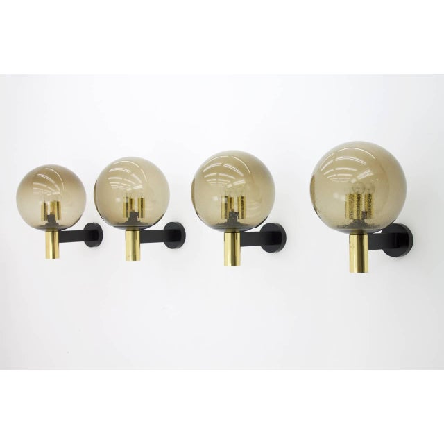 Brass Limburg Wall Lights With Smoked Glass and Brass 1970s - Four Available For Sale - Image 7 of 8