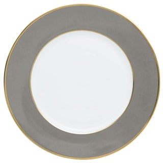 """Schubert"" Charger in Light Gray & Narrow Gold Rim For Sale"