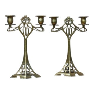 20th Century Hollywood Regency Brass Candlesticks - a Pair
