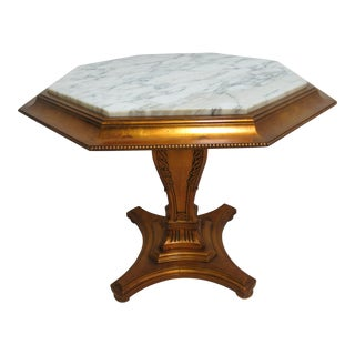 Vintage French Regency Gold Gilt Marble Top Pedestal End Table