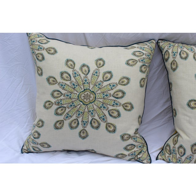 Silk 1960s Mid-Century Modern Printed Linen Down Pillows - a Pair For Sale - Image 7 of 13
