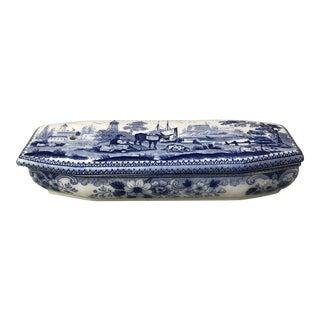 Blue & White Transferware Soap Box Creil Et Montereau For Sale