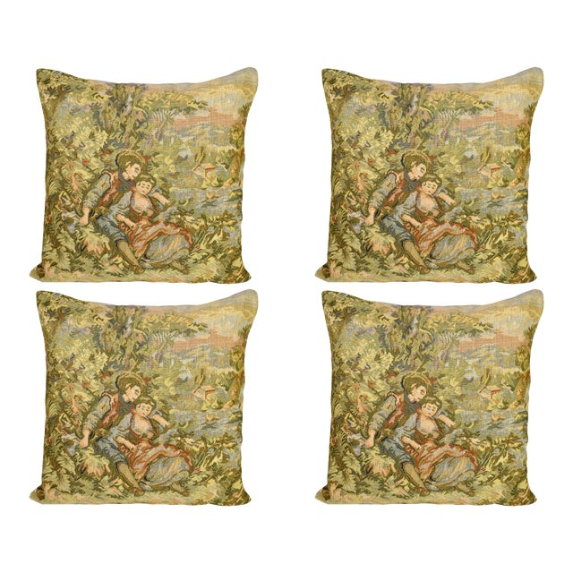 French Style Fancy Tapestry Cushion Pillow Cover - Set of 4 For Sale