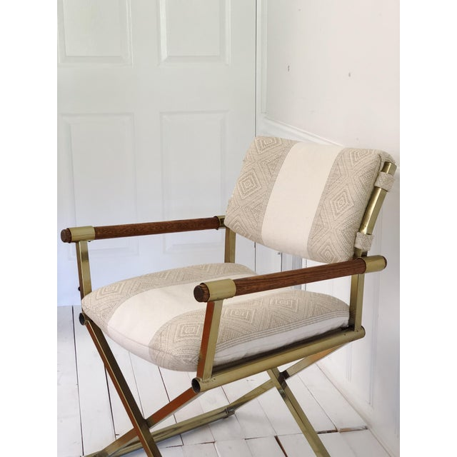 1970s 1970s Mid Century Brass Milo Baughman Style Campaign Director's Chair For Sale - Image 5 of 11