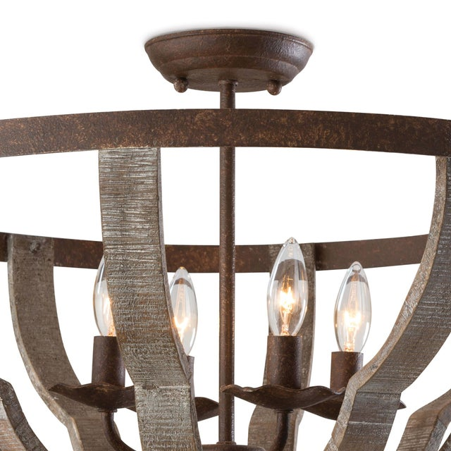 A distressed Beach Wood finish on this quatrefoil semi flush brings a coastal element to your decor. The rustic frame and...