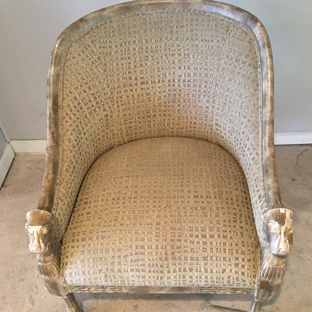 Neoclassical Lions Head Barrel Back Arm Chair For Sale - Image 9 of 11
