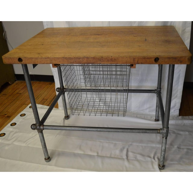 Maple Top Kitchen Island with Sliding Baskets - Image 2 of 9