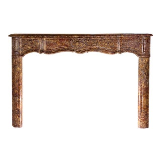 French Provincial Marble Mantel Executed in Breche Marble For Sale