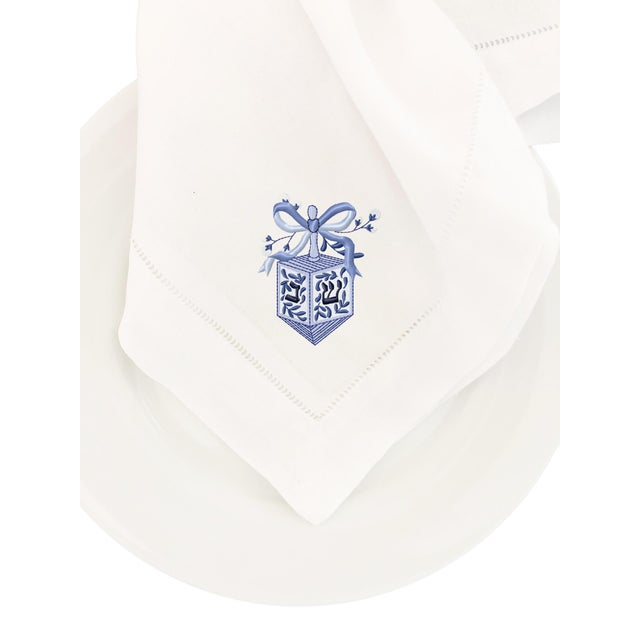 Finish your table with this exquisite embroidered, hemstitch napkin. A perfect way to add a little festive flair to your...
