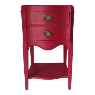 Vintage Mahogany Raspberry Red Nightstand