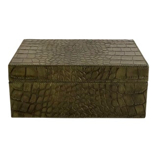 Faux Crock Embossed Leather Box For Sale