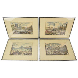 Vintage Mid-Century Veduta Di Roma Series Architectural Engravings After Piranesi - Set of 4 For Sale
