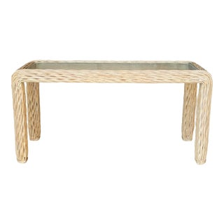 Coastal Twisted Pencil Reed Console Table For Sale