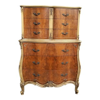 1930s French Style Walnut Matched Burl Highboy Dresser For Sale
