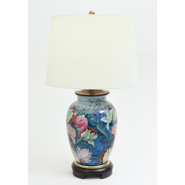 Gold Floral Porcelain With Mahogany Wood Base Table Lamps - a Pair For Sale - Image 8 of 10