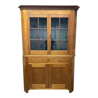 19th Century Two Piece Corner Display Cabinet For Sale
