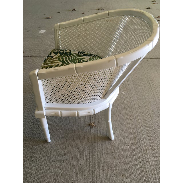 Wood Vintage Faux Bamboo Cane Barrel Back Chair For Sale - Image 7 of 9