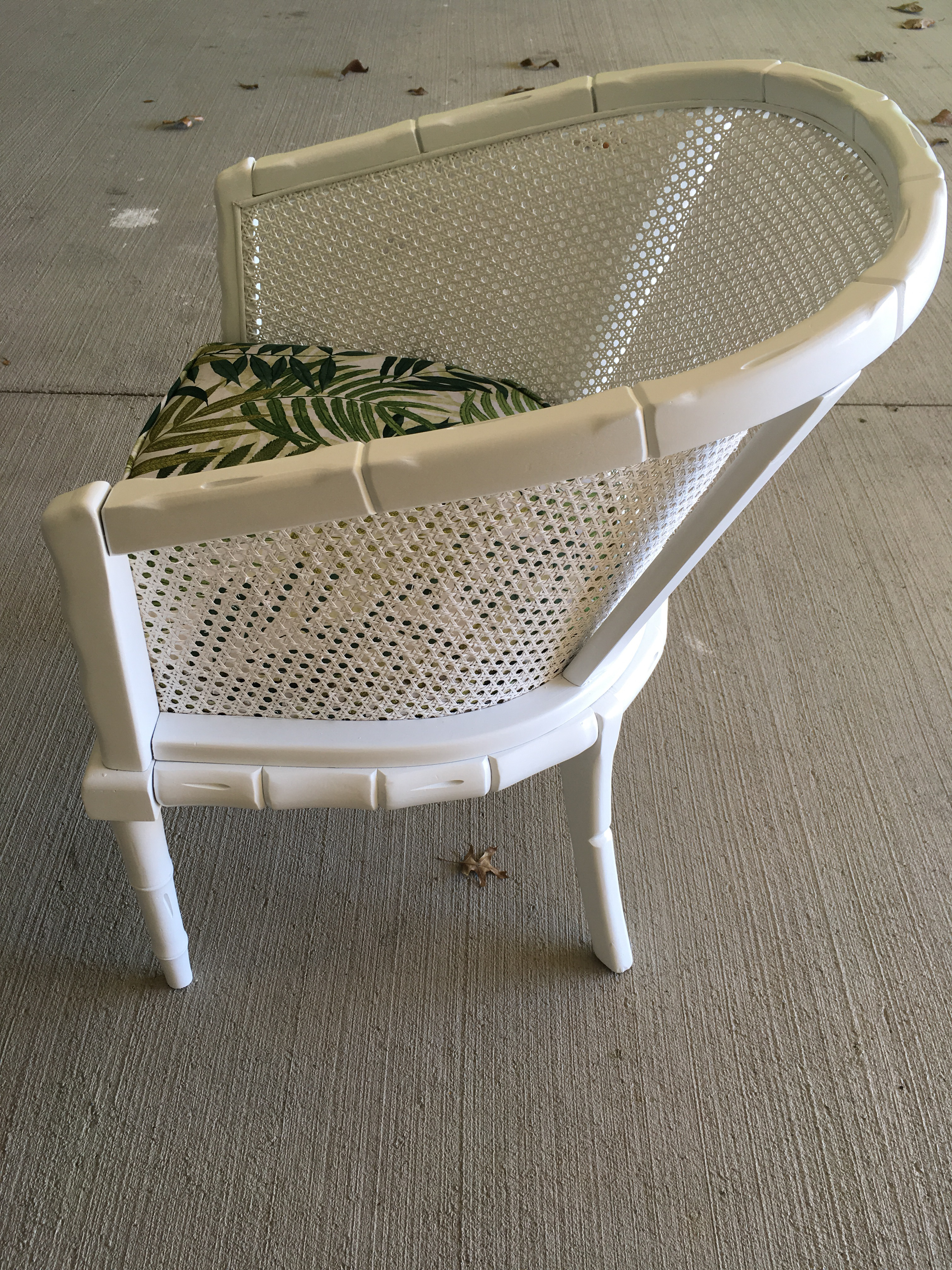 Vintage Faux Bamboo Cane Barrel Back Chair   Image 7 Of 9