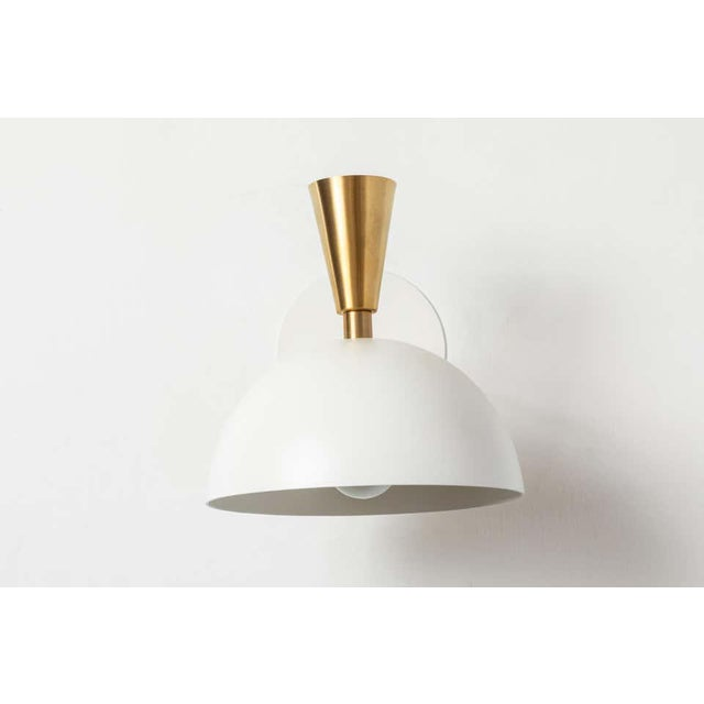 'Lola Ii' Sconces in White Metal and Brass - a Pair For Sale - Image 9 of 13